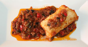Cod with samfaina ( fried vegetables)